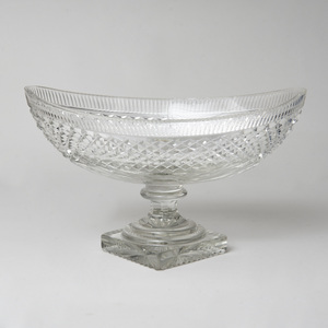 Large Navette Form Cut Glass Center Bowl