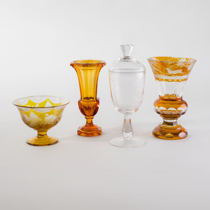Group of Bohemian Glass Table Articles