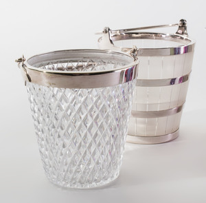 Asprey Silver Cocktail Shaker, a Set of Six Glasses and Two Silver Plate Mounted Glass Ice Buckets