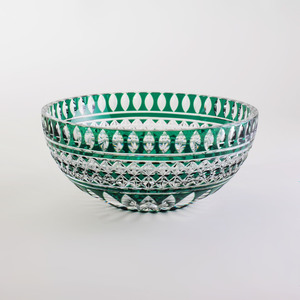 Val St. Lambert Green Cased Glass Bowl