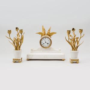 Assembled Gilt-Metal-Mounted Marble Clock Garniture