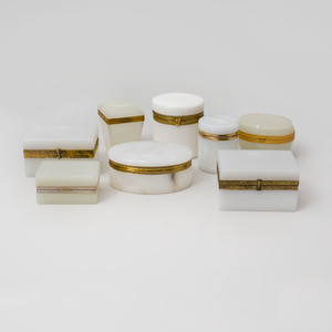 Group of Five Gilt-Metal Mounted Opaline Boxes and Three Gilt-Metal Mounted Hardstone Boxes