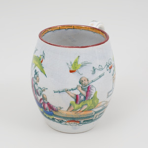 English Ironstone Transfer Printed and Enriched Chinoiserie Coffee Pot and Mug
