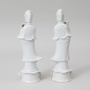 Pair Chinese White Glazed Porcelain Figures of Guanyin