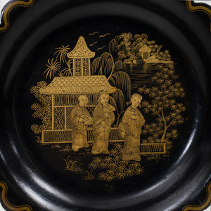 Group of Parcel-Gilt and Black Lacquer Chinoiserie Dressing and Desk Wares
