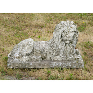 Cast Stone Model of a Recumbent Lion