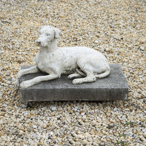 Painted Metal Model of a Recumbent Hound on a Cast Stone Base, Possibly Lead