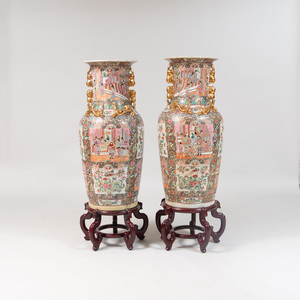 Pair of Canton Rose Medallion Style Large Vases, of Recent Manufacture