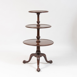 George II Carved Mahogany Three-Tier Whatnot