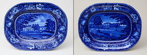 Two Stafforshire Platters in the 'Kildare Ireland' and 'Palace of St. Cloud' Patterns