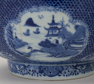 Two Chinese Export Blue and White Punch Bowls