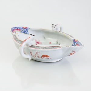 Chinese Export Porcelain Famille Rose Double Spouted Gravy Boat