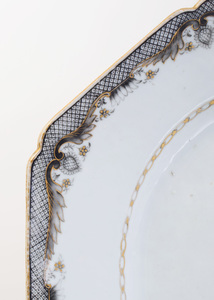 Chinese Export Porcelain Famille Rose Armorial Oval Deep Dish and a Chamfered Rectangular Platter