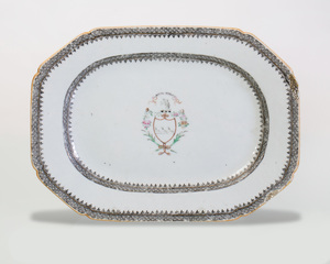 Chinese Export Famille Rose Small Chamfered Rectangular Armorial Platter