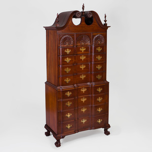 Chippendale Style Mahogany Block Front Chest on Chest, Possibly Newport