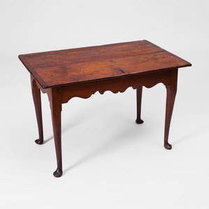 Queen Anne Stained Pine Tea Table, New England