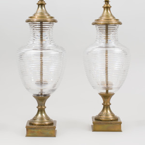 Pair of Brass Mounted Clear Glass Urn Form Lamps