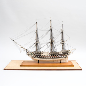 Napoleonic Prisoner-of-War Engraved Bone Ship Model