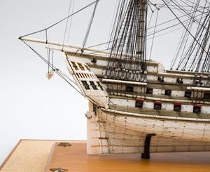 Napoleonic Prisoner-of-War Engraved Bone Ship Model