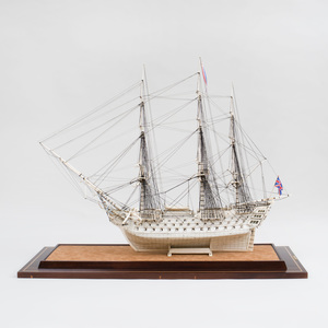 Napoleonic Prisoner-of-War Engraved Ship Model