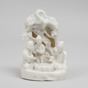 Chinese Dehua Porcelain Figure Group of Scholars in a Grotto