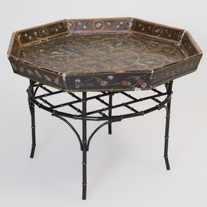 Victorian Style Painted Papier Mâché Hexagonal Tray on Later Faux Bamboo Stand