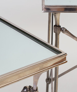 Pair of Directoire Style Mirror and Nickel-Plated Side Tables