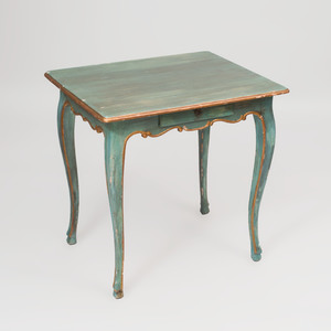 Continental Rococo Provincial Blue Painted Side Table