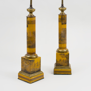 Pair of Regency Style Gilt-Bronze-Mounted Tôle Columnar Form Lamps