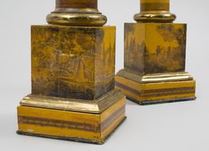 Pair of Regency Style Gilt-Bronze-Mounted Tôle Columnar Form Lamps
