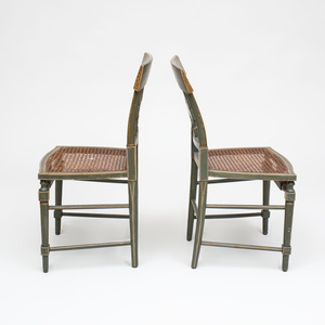 Pair of Classical Painted and Caned Side Chairs, Attributed to Thomas S. Renshaw and John Barnhart, Baltimore