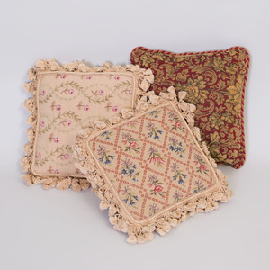 Pair of Tan Needlepoint Pillows