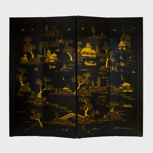 Chinoiserie Painted and Parcel-Gilt Canvas Four Panel Screen