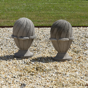 Pair of American Limestone Finials