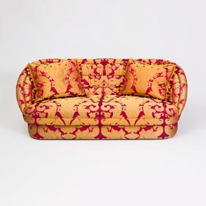 Silk Damask Upholstered Two Seat Sofa