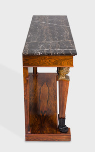 Empire Style Brass-Mounted Rosewood and Ebonized Console Table