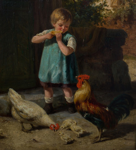 European School: Barnyard with Chickens