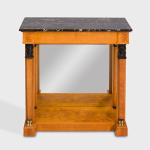 Empire Style Brass-Mounted Satinwood and Ebonized Console Table, Late 20th Century