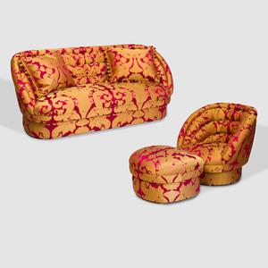 Suite of Silk Damask Upholstered Seat Furniture