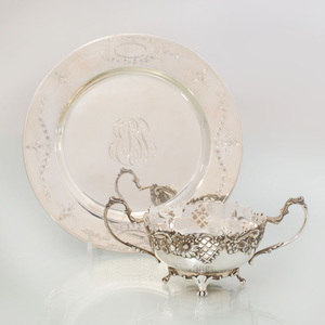 Set of Twelve J.E. Caldwell Silver Side Plates and Broth Cups