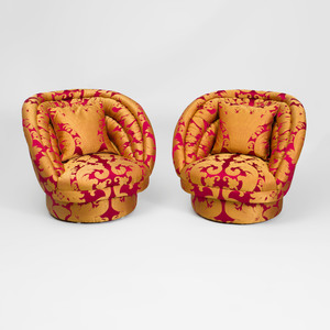 Pair of Silk Damask Upholstered Tub Chairs