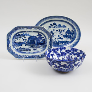 Group of Canton Blue and White Porcelain; a Group of Staffordshire Transferware; and a Japanese Fruit Bowl; and Four Dishes