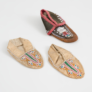 Pair of Native American Beadwork Baby's Moccasins and a Single Moccasin