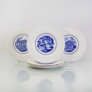 Two Sets of Twelve Wedgwood Transfer-Printed Porcelain University of Virginia Plates