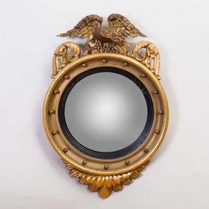 Regency Carved Giltwood Convex Eagle Mirror