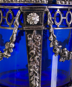 Swedish Silver Mustard Pot Holder with Blue Glass Liner