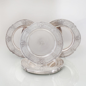 Set of Eight Monogrammed Silverplated Service Plates in the Neoclassical Style