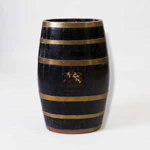 English Brass-Banded Oak Oval Barrel