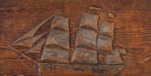 American Relief-Carved Pine Sea Chest with Beckets