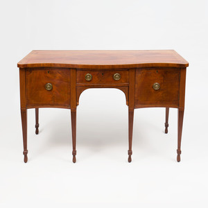 George III Style Inlaid Mahogany Serpentine-Fronted Sideboard